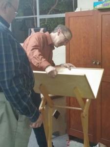 Mark inspecting the door prize!